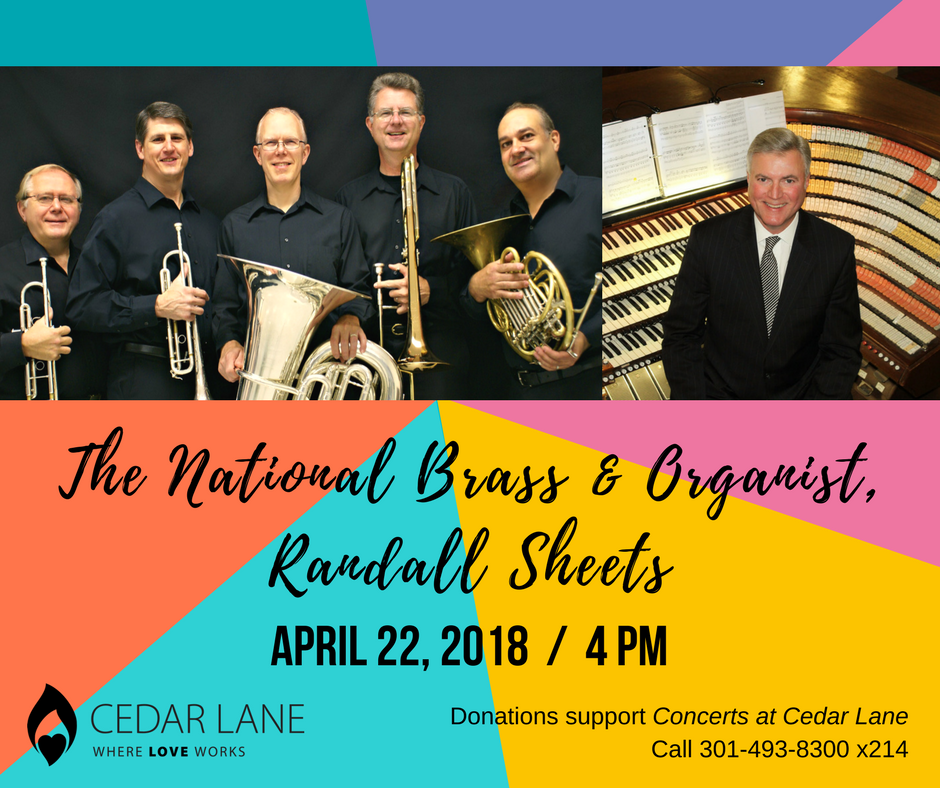 graphic for upcoming concert on 4.22.18 with The National Brass & Organist, Randall Sheets