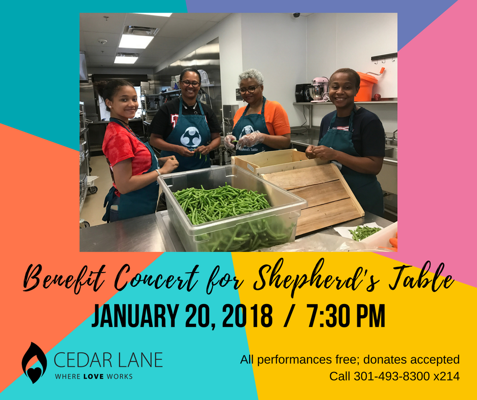 graphic for upcoming benefit concert at Cedar Lane in January 2018 to support Shepherd's Table in Silver Spring, Maryland