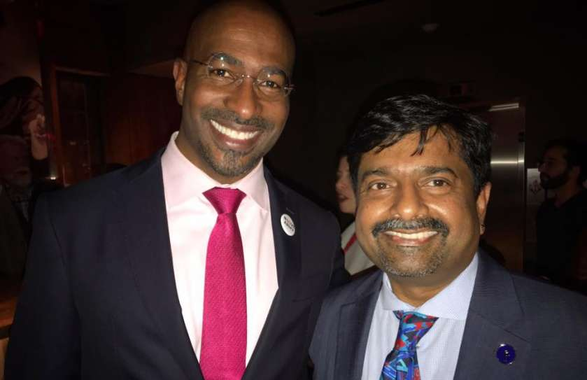 Rev. Abhi Janamanchi in a photo with American news commentator, author, and non-practicing attorney Van Jones. He is a cofounder of several nonprofit organizations, including the Dream Corps.
