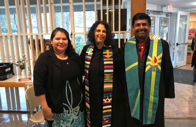 Rev. Abhi Janamanchi, Rev. Katie Romano Griffin and Rosa in the Cedar Lane Sanctuary for Sunday worship