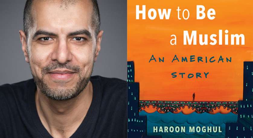 graphic of Haroon Moghul and the cover his his book, How to Be a Music: An American Story