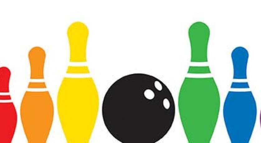 bowling ball with rainbow bowling pins on either side of it