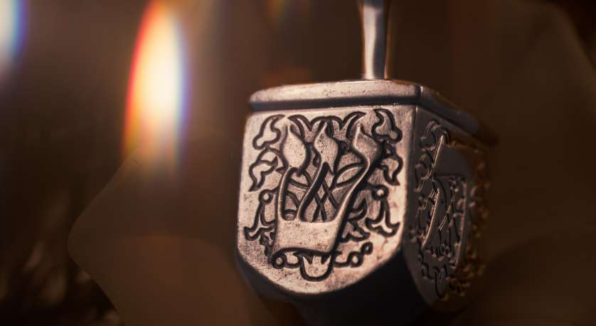 artistic photo of a dreidel