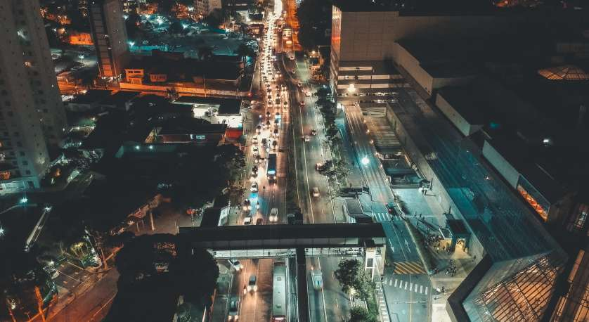 big crowded city aerial view at night