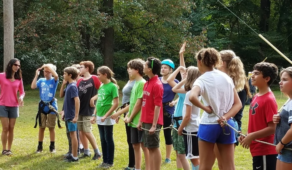 youth at Camp Tockwogh for a retreat for middle and high school youth at Cedar Lane