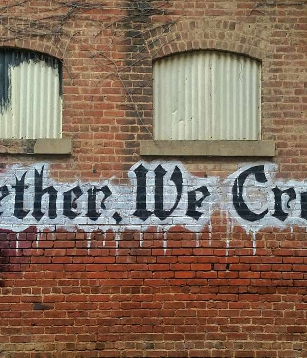 "mural that says ""together, we create!"""