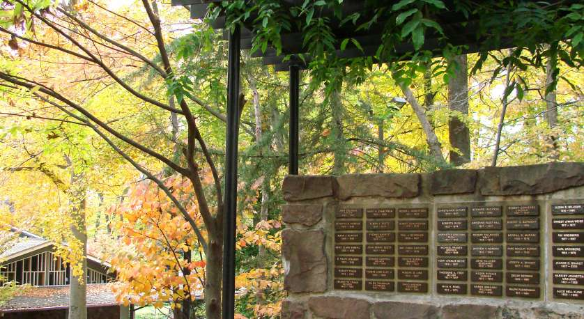 the Memory wall outside of the Chalice House during autumn